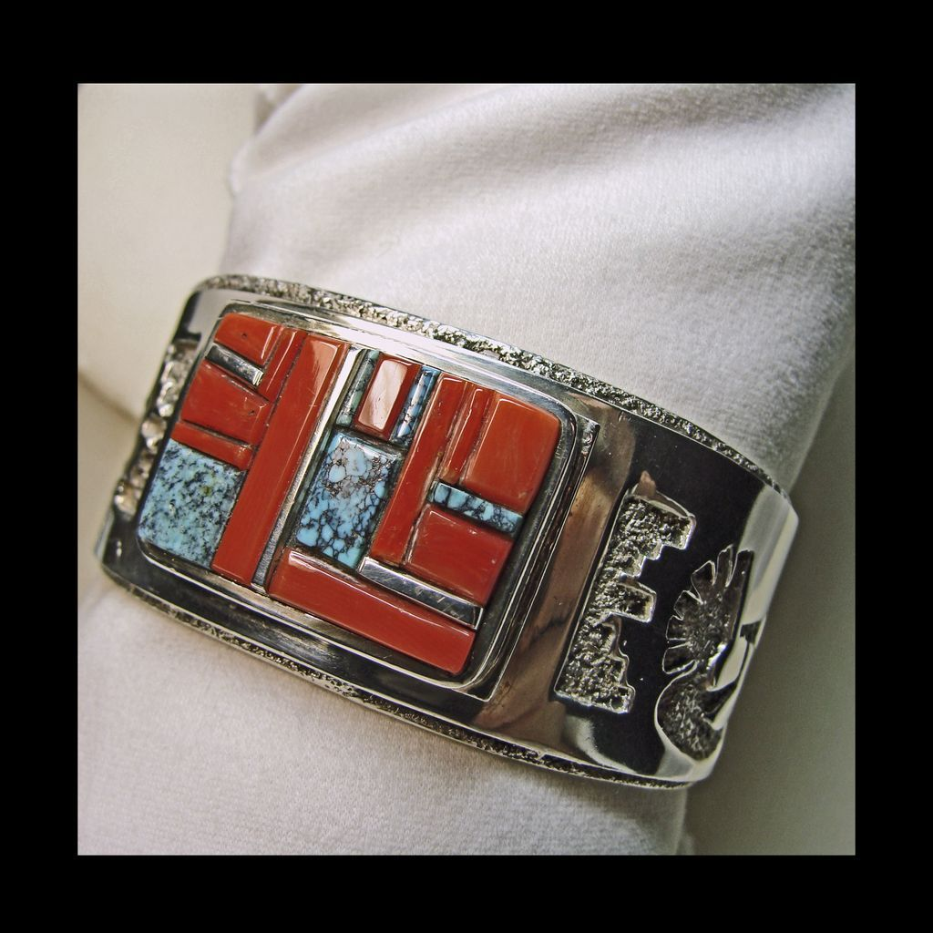 Sterling Cuff Style Bracelet with Silver Overlay ; Inlay of Coral Turquoise