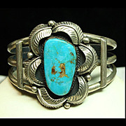 Sterling Silver Cuff Bracelet with Blue Green Turquoise