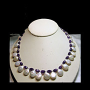 SOLD Amethyst and Freshwater Coin Pearls Bead Necklace - Red Tag Sale Item
