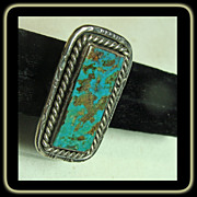 Large Sterling Silver Ring with Emerald Cut Turquoise