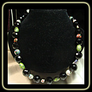 27 Inch Faceted Black Agate and Cloisonne Bead Necklace