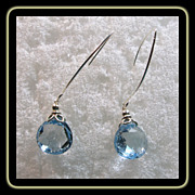 Natural Blue Topaz and Sterling Silver Earrings for Pierced Ears