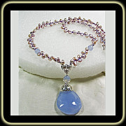 SOLD Mauve Freshwater Keishi Necklace with Natural Chalcedony - Red Tag Sale Item