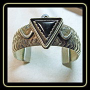 Sterling Silver and Onyx Cuff Bracelet