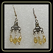 Sterling Silver Chandelier Earrings with Citrine Drops