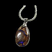 SOLD Australian Boulder Opal on 30 Inch Sterling Snake Chain