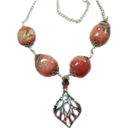 Deep Pink Opal Bead Necklace with Sterling Silver  Pendant