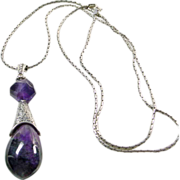 SOLD Sugilite, Amethyst , Sterling Silver Pendant on Wheat Chain