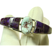 SOLD Sterling Silver Cuff Bracelet with Sugilite Inlay and Dry Creek Turquoise