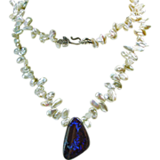 Australian Boulder Opal on Strand  of Keishi Pearls