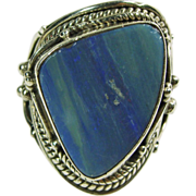 Sterling Silver Banded Blue Agate Ring