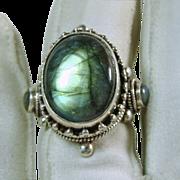 Tibetan Sterling Silver and Labradorite Ring