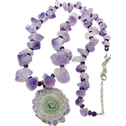 SOLD Amethyst Points Necklace with Amethyst Crystal stalactite Pendant