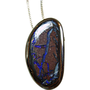 Boulder Opal and 24 inch Sterling Silver Box Chain