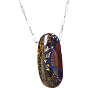 SOLD Australian Blue Fire Boulder Opal on Silver Chain - Red Tag Sale Item