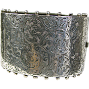 Sterling Silver Victorian Wide Bangle Bracelet