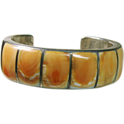 Sterling Silver Cuff Bracelet and Ring with Spiny Oyster Stone on Metal Inlay