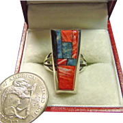 Alvin Yellowhorse Sterling Ring with Spiny Oyster and Denim Lapis Inlay