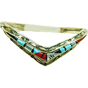 Sterling Silver V-Shape Cuff Bracelet with Stone on Stone Inlay by  Henry Addikie, Zuni