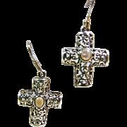 Sterling Silver Filigree Cross Earrings with MOP