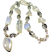 Sterling Silver Necklace with Blue Flash Rainbow Moonstone and AAA Faceted Rock Crystal Beads