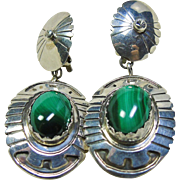 Sterling Silver Clip Earrings with Malachite