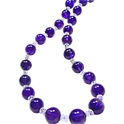 14mm Amethyst Bead Necklace with AAA Natural Quartz Rondelle Beads