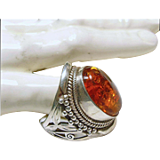 SALE Sterling Silver and Amber Ring