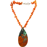 Sonora Sunrise Pendant on Necklace of Orange Branch Coral