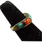 Sterling Silver Band Ring with Stone on Stone Inlay