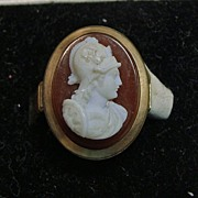 Victorian Faux Hardstone Cameo in Gold over Brass Ring