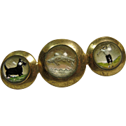 Brass Broach with 3 Reverse Painting Pictures
