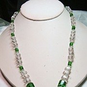 Green and Clear Crystal Necklace with Green Glass Pendant