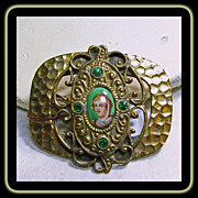 Victorian Brass Brooch with Porcelain Portrait of a Woman