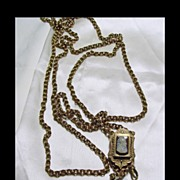Hardstone Cameo Slide and Watch Chain