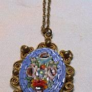 Vintage Italian Mosaic Flower Pendant with Chain