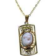 Gold Filled Pendant and Chain with Pink Conch Shell Cameo