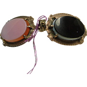 Victorian Rose Gold Over Brass Onyx and Carnelian Locket