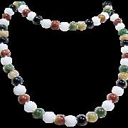 Multiple Color Jade Bead Necklace