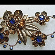 Retro Sterling Silver with Gold Wash Floral Broach