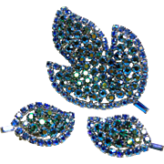 SALE Leaf Shape Broach and Earrings in Stunning Iridescent Shades of Blue  and Green
