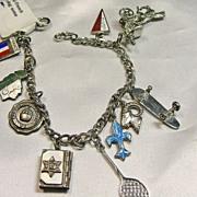 10 Charm White Gold Filled Charm Bracelet