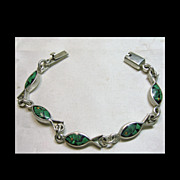 Mexican Sterling  Chip Inlay Link  Bracelet with Fish Design
