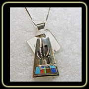 Sterling Silver Overlay Pendant with Stone on Metal Inlay with Chain