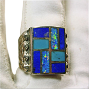 Sterling Silver Ring with Inlay of Opal, Lapis and Turquoise