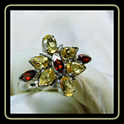Sterling Silver Floral Motif Ring with Citrines and Garnets