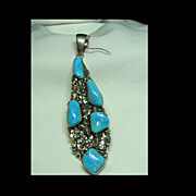 Sterling Silver and Turquoise Large Pendant
