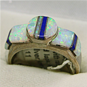 Sterling Silver Ring with Opal and Lapis Inlay