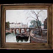 F.H. Callaerd Paris River Seine Scene with Barges