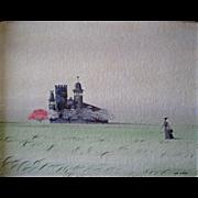California JOHN MORRIS Surrealist Landscape w/ Figure of Lady